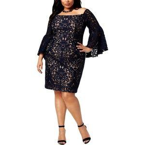 Xscape Womens Plus Size Lace Off-The-Shoulder
